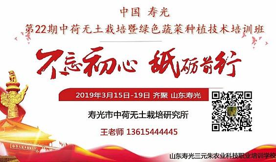 中国(寿光)第二十二期中荷无土栽培暨绿色蔬菜种植技术培训班