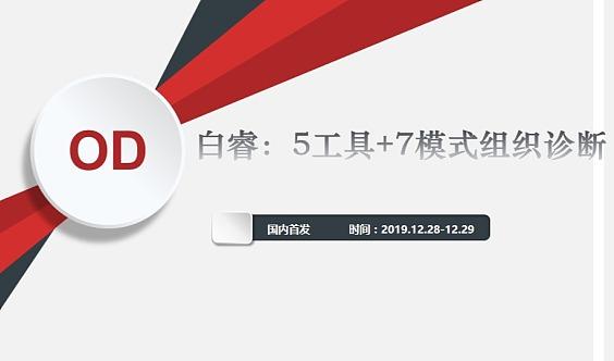 【南京12月28-29日】国内首发!白睿:5工具+7模式组织诊断(两天)实操课!